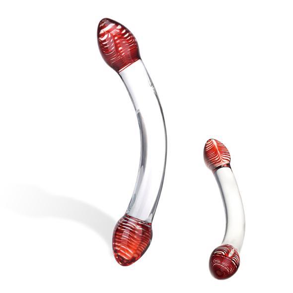 Glas Red Head Double Glazen Dildo Levendige rode bolle koppen met spiralen maken deze dubbele dildo meer dan zomaar een seksspeeltje: het is een kunstwerk