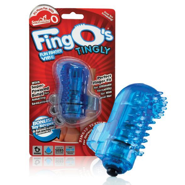 Kogel vibrator - The Screaming O The FingO Tingly (Blauw) De Fing O beschikt over een krachtige kogelvibrator comfortabel gedragen rond je vinger voor directe stimulatie waar je wilt