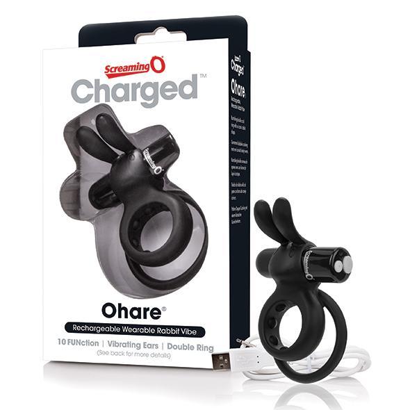The Screaming O Charged Ohare Rabbit Vibe Zwart Maak van je partner je favoriete rabbit vibrator met de Charged Ohare, een unieke oplaadbare dubbele penisring